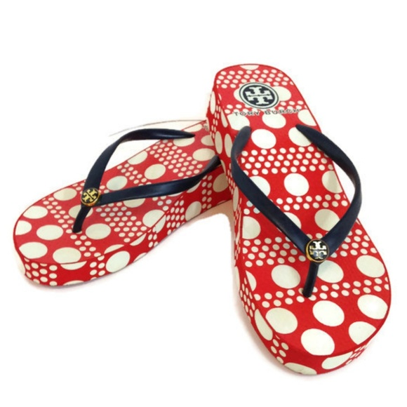 b3cf0167f24 Tory Burch Red Polka Dot Wedge Platform Flip Flops.  M 5b8c48ce3e0caafe8d4f8be5